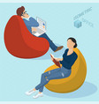 people sitting at bean bag chairs vector image
