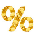 percent sign from golden coins isolated on white vector image vector image