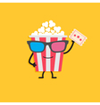 Popcorn box in 3D glasses Character with face legs vector image