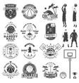 set basketball college club badge vector image