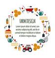 set farm tools flat- garden vector image vector image