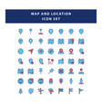 set map and navigation icon with filled vector image vector image