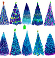 Set of Christmas colored trees isolated on white