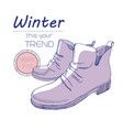 sketch boots shoes for winter poster retro style vector image