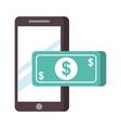 smartphone banknote money nfc payment vector image