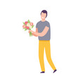 smiling young man with bouquet flowers holiday vector image vector image
