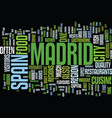 the cuisine of madrid a guide text background vector image vector image