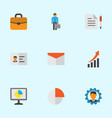 trade icons flat style set with analytics circle vector image vector image