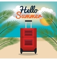 travel suitcase hello summer vacation design vector image