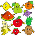 various cartoon fruits vector image