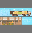 warehouse delivery service store space to rent vector image vector image