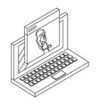 woman on laptop screen isometric concept in black vector image