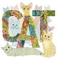 word cat with drawing of a cats decorative vector image