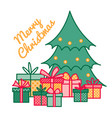 wrapped gifts and presents under christmas tree vector image
