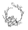 wreath in engraving style vector image vector image
