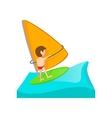 Yacht racing cartoon icon vector image vector image