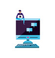 young man using laptop computer with desktop vector image vector image