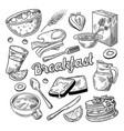 healthy breakfast hand drawn doodle food vector image