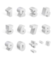 White 3d numbers isolated font on white background vector image