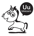 U Unicorn cartoon and alphabet for children to vector image