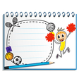 A notebook with a drawing of a cheerer beside an vector image vector image