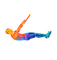 abstract young man doing abdominal exercise on vector image