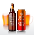 Beer bottle and can with label - Keep Calm and vector image vector image