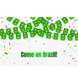 brazil garland flag with confetti on transparent vector image vector image