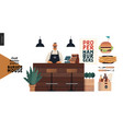 burger house - small business graphics - waiter vector image vector image