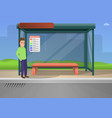 bus stop concept background cartoon style vector image