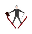 businessman with skies and a suitcase vector image