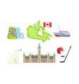canada traditional symbols and attractions set vector image vector image