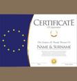 certificate or diploma european flag design vector image vector image