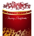 Christmas red and gold background with fir twigs vector image vector image