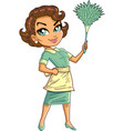 cleaning service maid lady woman with duster vector image