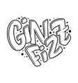 cocktail name lettering in heart - gin fizz hand vector image vector image
