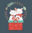 cute cats with red gift wreath decoration vector image