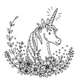 doodle unicorn in flowers 2 vector image vector image