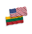 flags of lithuania and america on a white vector image vector image