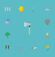 flat icons lawn mower axe green wood and other vector image vector image