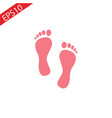 footprint - red icon with shadow on white vector image