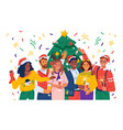 friends or family celebrating xmas and new year vector image vector image