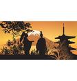 Geisha and Pagoda vector image vector image