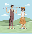 golf players couple in course vector image vector image