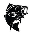 graphic black fish on white background vector image