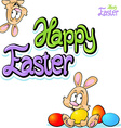 happy easter text- design with bunny eggs vector image vector image