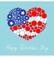 Happy Valentines Day Love card Round dot heart vector image vector image
