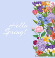 hello spring floral background with flower bouquet vector image vector image