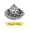 ink sketch funnel cake vector image