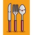 kawaii knife spoon and fork icon design vector image vector image